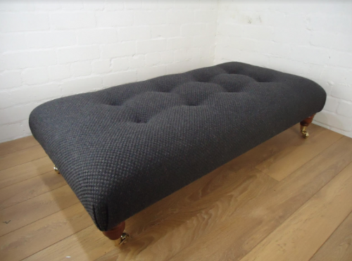 Bespoke Footstool - Laura Ashley Wool Blend - Romney Charcoal fabric